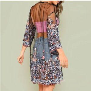 Sheer Embroidered Mesh Kimono NWOT